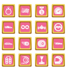 car race icons set pink square vector image