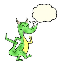Cartoon happy dragon with thought bubble vector