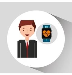 cartoon man smart watch and pulse monitoring vector image