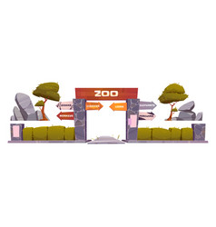cartoon set zoo entrance vector image