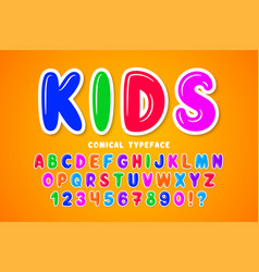 children bubble comical font design colorful vector image