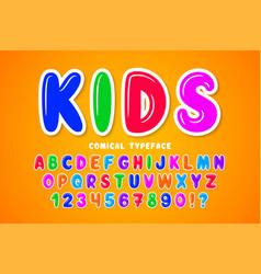Children bubble comical font design colorful vector