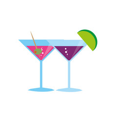 Color background with cocktail glass vector