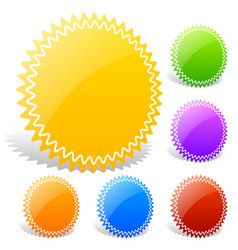 Colorful glossy badge shapes with blank space vector