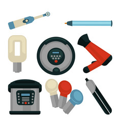 Common electrical home appliances isolated flat vector