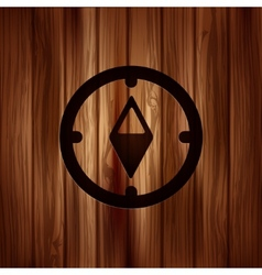 Compass web icon Wooden background vector