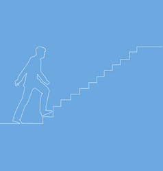 continuous one drawn line man climbs the stairs vector image