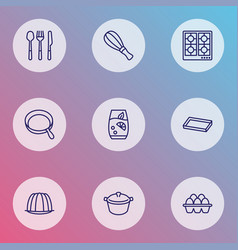 Cooking icons line style set with eggs lemonade vector