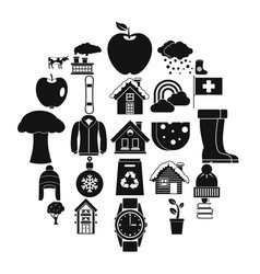 country house icons set simple style vector image