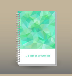 Cover of diary or notebook mint green polygonal vector