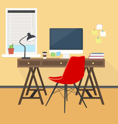 Creative workplace at office or home vector image