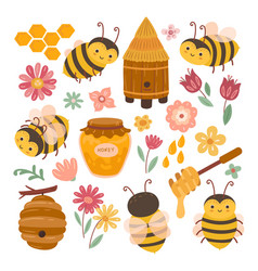cute bee and honey yellow bees cartoon flying vector image