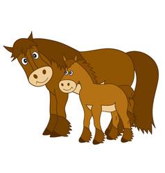Cute cartoon horse with foal vector