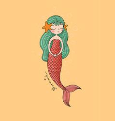 Cute cartoon little mermaid siren sea theme vector