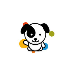 cute dog with colorful balls welcomes waving his vector image
