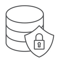 Database protection thin line icon data analytics vector