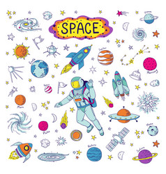 doodle space cosmos trendy kids pattern hand vector image