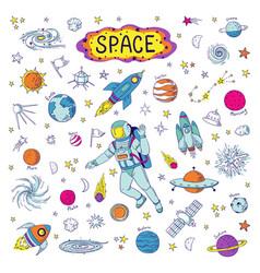 Doodle space cosmos trendy kids pattern hand vector