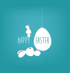 easter blue poster with handwritten text vector image