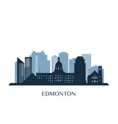 edmonton skyline monochrome silhouette vector image