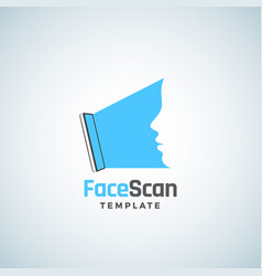 Face scan abstract sign emblem icon or vector