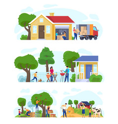 family moving to countryside house set of vector image