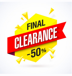 Final clearance bright banner special offer big vector
