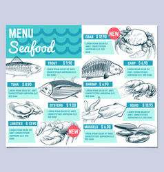 fish restarant menu hand drawn fishes lobster and vector image