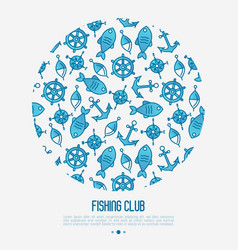 Fishing club concept in circle with fish anchor vector