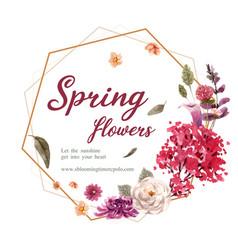 Floral wine wreath design with chrysanthemum vector