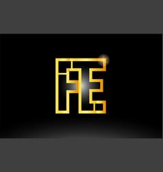 Gold black alphabet letter fe f e logo vector