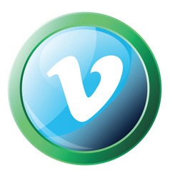 green circle with vimeo sign inside icon on a vector image