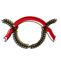 green color olive branches and red ribbon on top vector image