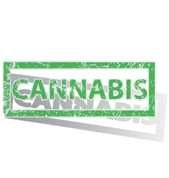 Green outlined CANNABIS stamp vector image