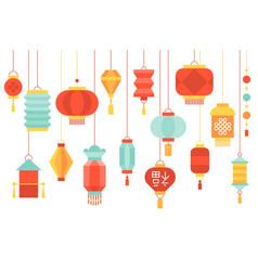 Hanging chinese paper lantern vector