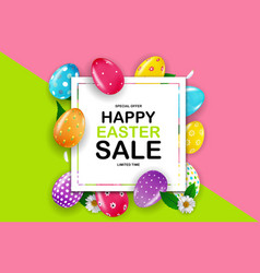 Happy easter sale poster template with 3d vector