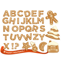 happy holidays christmas abc letters font vector image