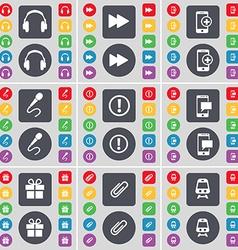 Headphones rewind smartphone microphone warning vector