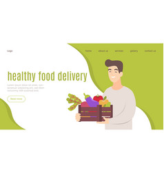 Healthy food delivery landing template fresh food vector