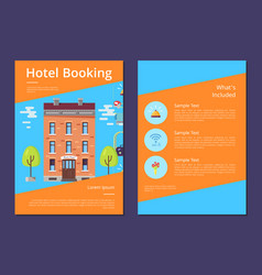 hotel booking and whats included in it info page vector image