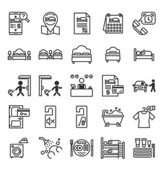 Hotel information system outline icon set vector