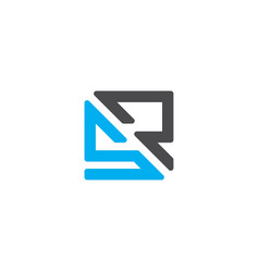 Initial letter sr or rs logo template with square vector