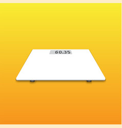 Isolated white weighing scale on orange background vector