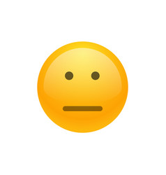 isolated yellow emoticon expressionless smiley vector image