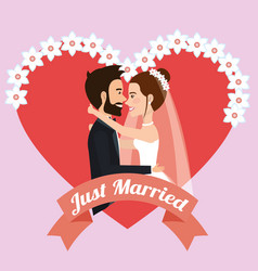 just married couple kissing avatars characters vector image