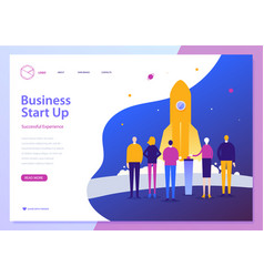 Landing page template of business start up vector
