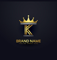 Letter k premium logo with golden crown vector