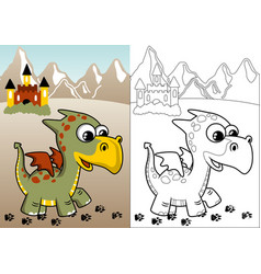 little dragon and castle on mountain background vector image