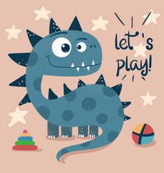 little princess cute dino - funny vector image