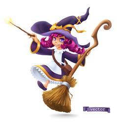 Little witch sorceress happy halloween 3d cartoon vector